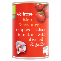 Waitrose tinned chopped tomatoes with olive oil & garlic 400g