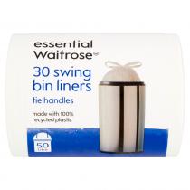 Essential Waitrose Liners Swing Bin With Tie Handle 30