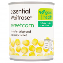 Essential Waitrose canned sweetcorn crisp & naturally sweet 195g