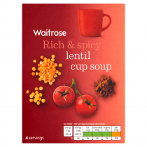 Waitrose Thick & Creamy spicy lentil soup in a cup 4x24g