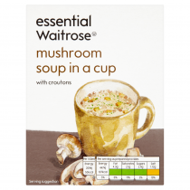 Essential Waitrose mushroom soup in a cup with croutons 4x24g