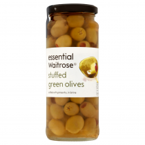 Essential Waitrose Stuffed Green Olives 340g