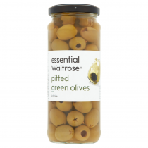 Essential Waitrose Pitted Green Olives 340g