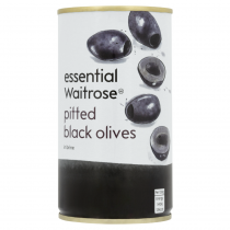 Essential Waitrose Pitted Black Olives 350g