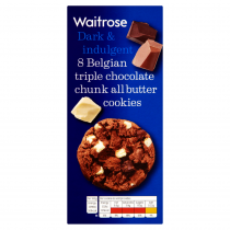 Waitrose 8 Belgian Triple Chocolate Chunk Cookies 200g