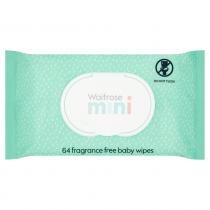 Waitrose Mini Baby Wipes Fragrance Free pack of 64