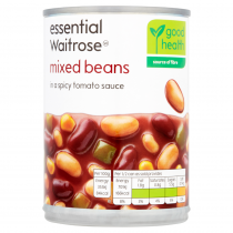 Essential Waitrose canned mixed beans in a spicy tomato sauce 395g