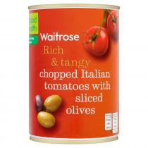 Waitrose Tomatoes Chopped Wth Sliced Olives 400g