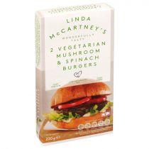 Linda McCartney's 2 Vegetarian Mushroom & Spinach Burgers 220g