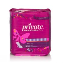Private Maxi Pocker Feminime Pads Night with Wings (8 pads)
